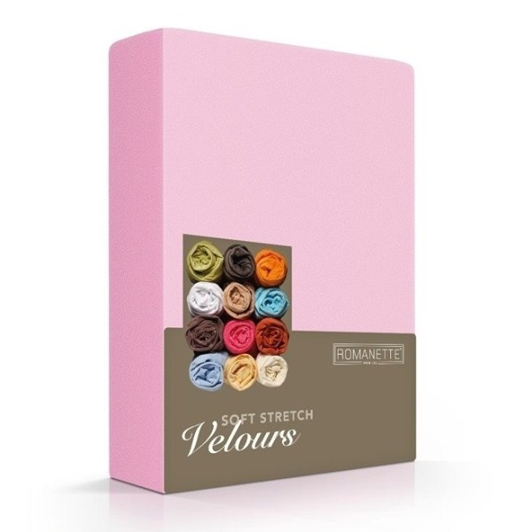Hoeslaken Velours - 80/100x200/220 cm - Roze - Romanette - Ga naar Dekbed-Discounter.nl & Profiteer Nu