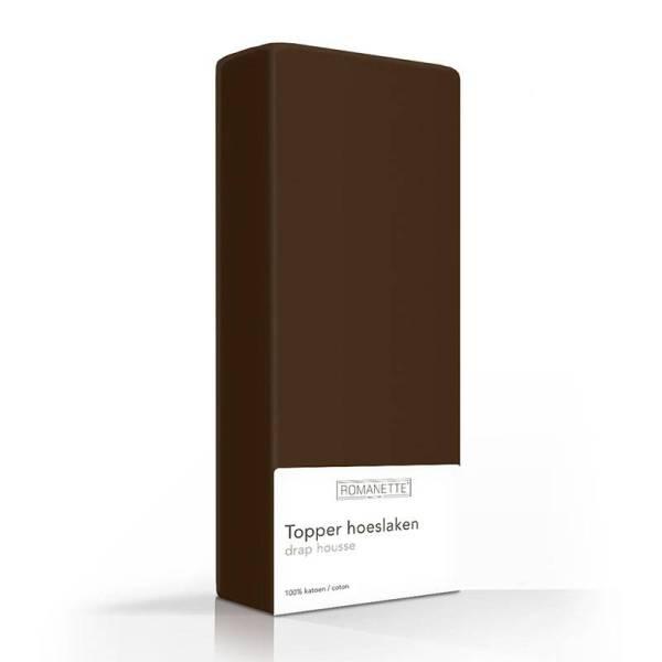 Luxe Katoenen Topper Hoeslaken - Bruin Romanette 70 x 200 - Ga naar Dekbed-Discounter.nl & Profiteer Nu