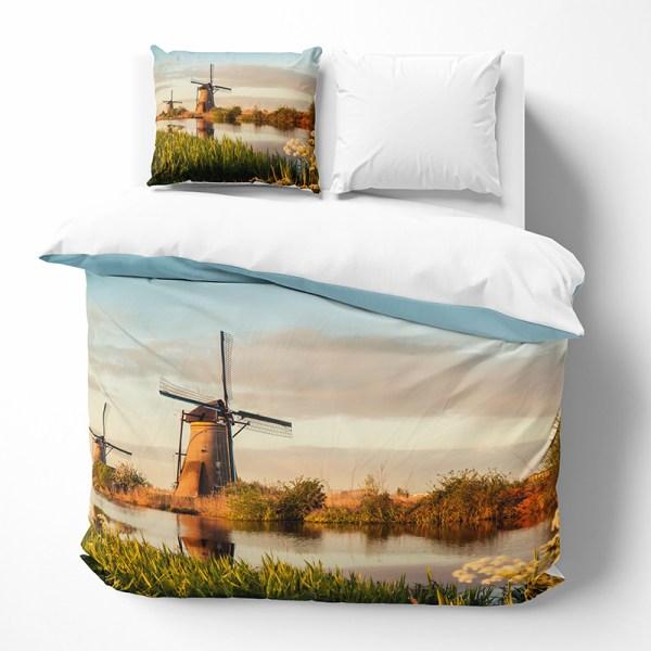 Dekbedovertrek Windmill Landscape 1-persoons (140x200/220 cm) - KatoenKatoen-satijnKatoen - Landschap