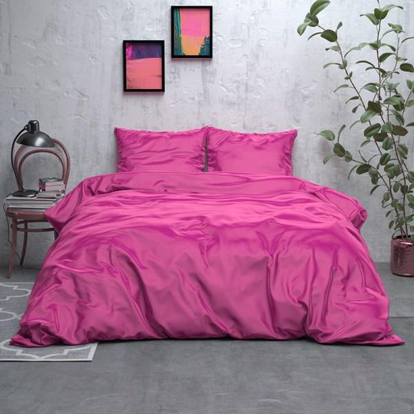 Dekbedovertrek Satijn Geweven Uni - Hot Pink 1-persoons (140x220 cm) - Microvezel - Effen - Groen - Ga naar Dekbed-Discounter.nl & Profiteer Nu