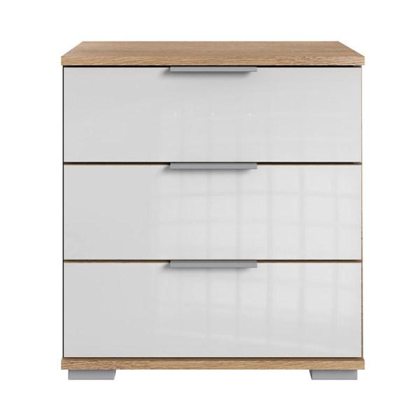 Nachtkastje - Planken Eiken - Glas Wit Easy Plus - Ga naar Dekbed-Discounter.nl & Profiteer Nu