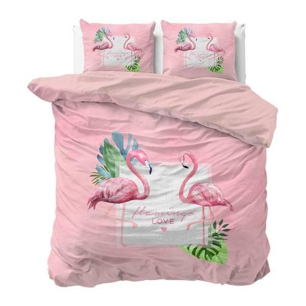 DreamHouse Bedding Sunny Flamingo's 1-persoons (140 x 220 cm + 1 kussensloop) Dekbedovertrek