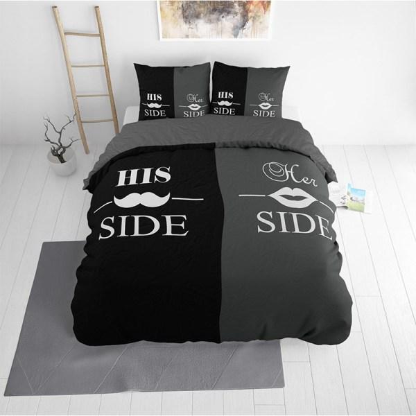 Sleeptime Essentials His and Her side - Zwart/Grijs 1-persoons (140 x 220 cm + 1 kussensloop) Dekbedovertrek