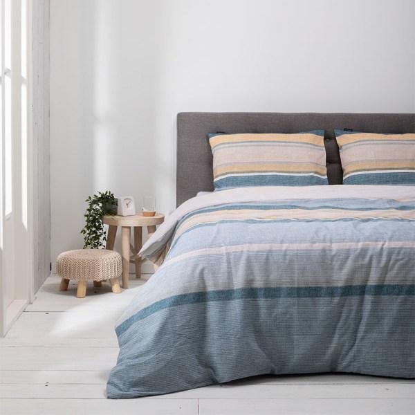 Dekbedovertrek Stripe Along 1-persoons (140x220 cm) - Katoen - Strepen - Blauw