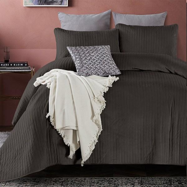 Bedsprei - Texas - Antraciet DreamHouse Bedding Effen 180 x 250 + 1 kussensloop - Ga naar Dekbed-Discounter.nl & Profiteer Nu