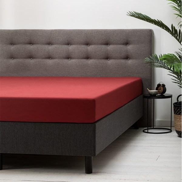 Hoeslaken Katoen - 80x200 cm - Rood - Dekbed Discounter