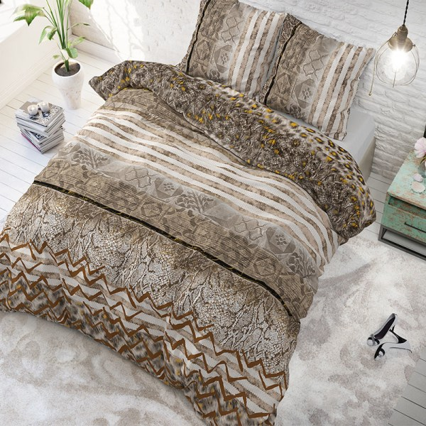 Sleeptime Elegance Panther Feel Taupe Lits-jumeaux (240 x 200/220 cm + 2 kussenslopen)