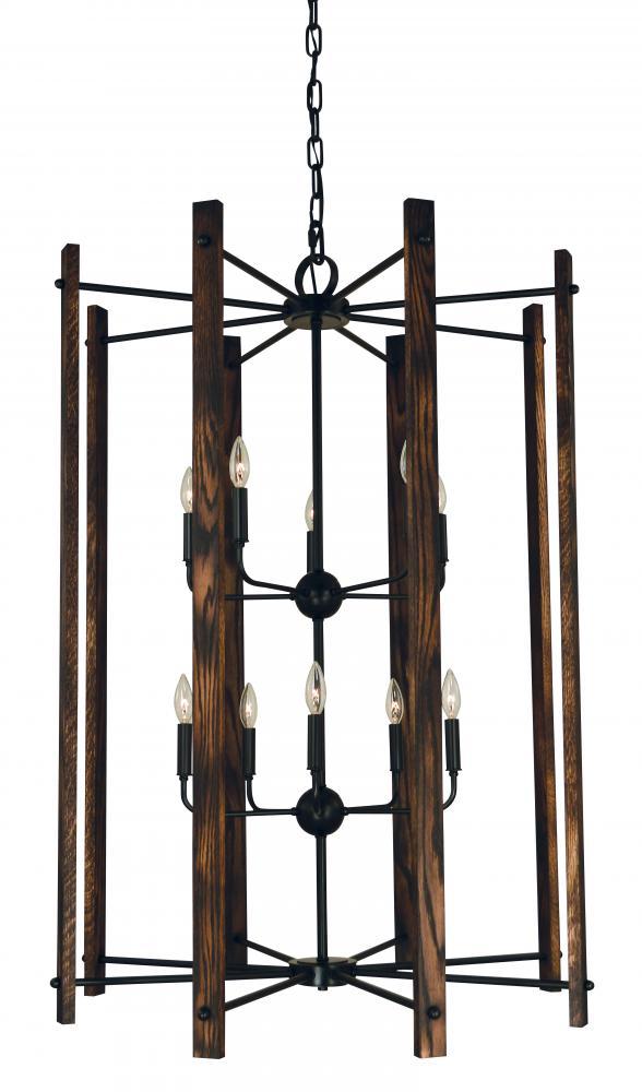10 light matte black modern farmhouse foyer chandelier