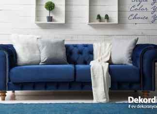 Mavi koltuk dekorasyonu