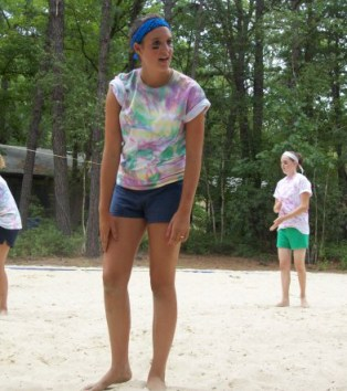 Kaitlyn playing volleyball at camp last summer.