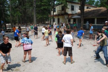 Junior High 1 campers playing a game called paranoid.
