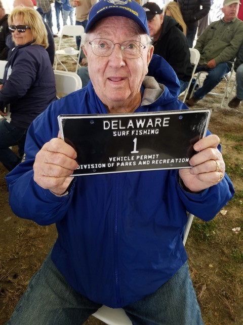 harry aiken,delaware surf fishing tag number 1, sussex county, low digit tags, DMV low digit numbers, delaware