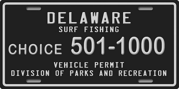 sussex county, delaware surf fishing black numbered tag, delaware,