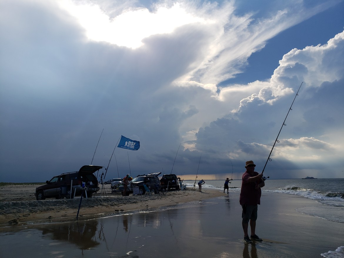 surf fishing, the point, cape henlopen state park
