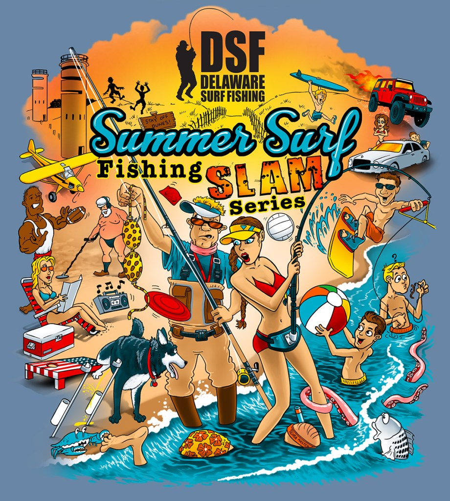 surf fishing tournament, delaware, sussex county, delaware surf fishing, summer surf fishing series slam, t shirt, hoodie