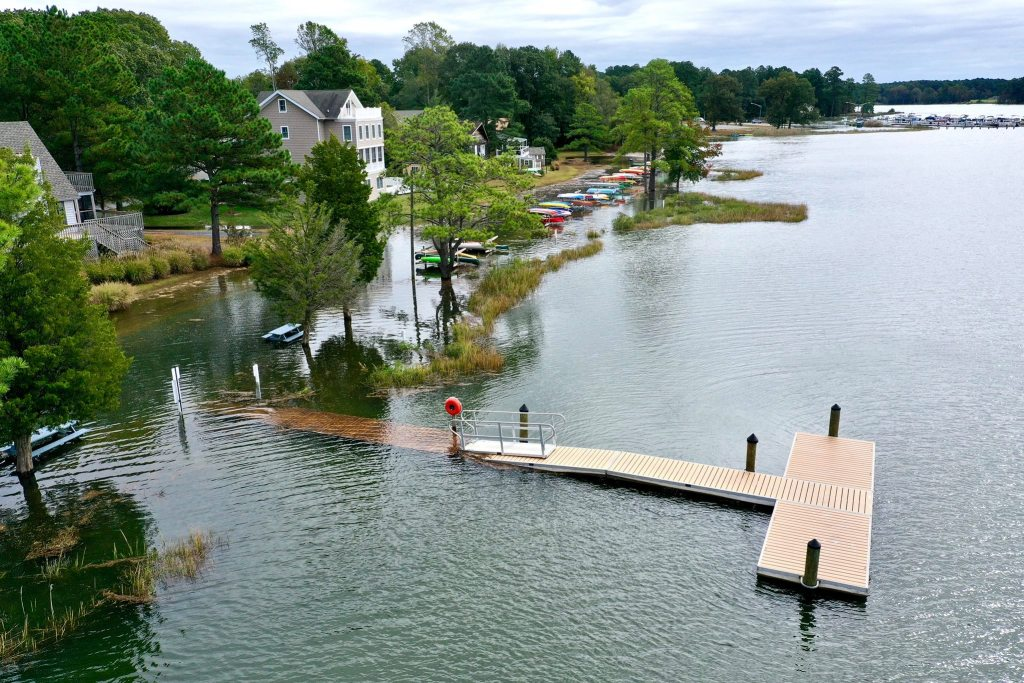 flooded bays, herring creek, love creek, tidal flooding, delaware, sussex county, inland bays