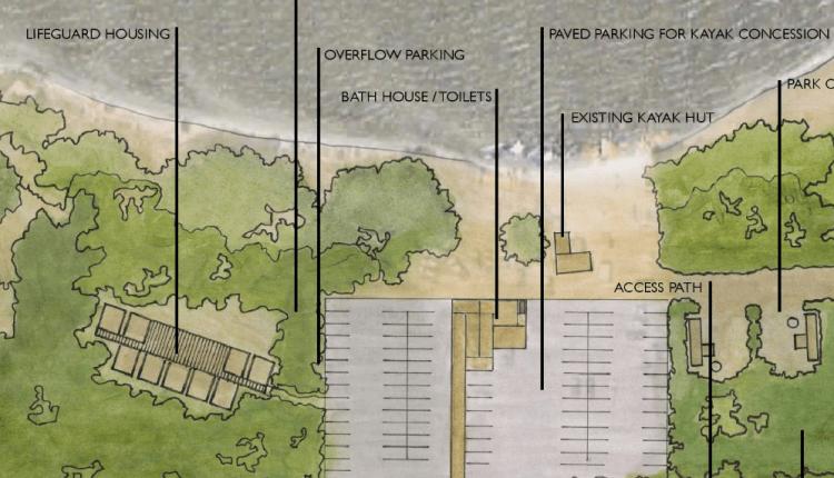 Lifeguard housing next to the Coastal Kayak concession area