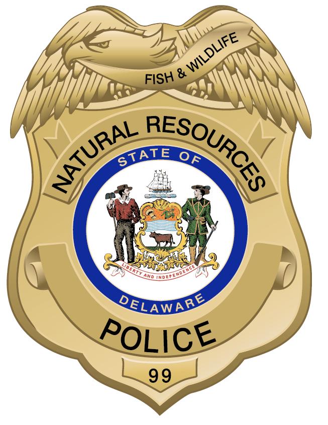 DNREC Natural Resources Police badge, DNREC enforcement blotter, delaware, sussex county, kent county, new castle county