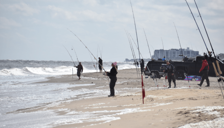 Surf anglers fishing rough conditions on Herring Point to Gordons pond in Cape Henlopen State Park