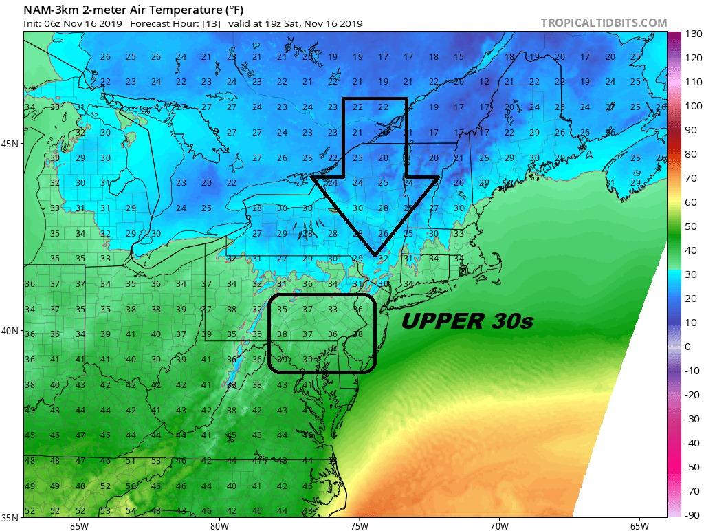 temperature map, coastal storm, noreaster, delaware