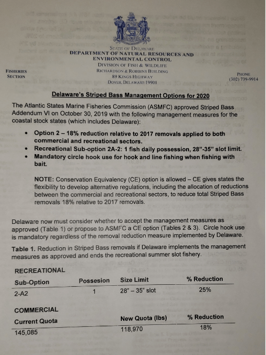 Delaware's Striped Bass Management Options for 2020, ASMFC reduction for striped bass, delaware, sussex county, kent county, new castle county, rockfish
