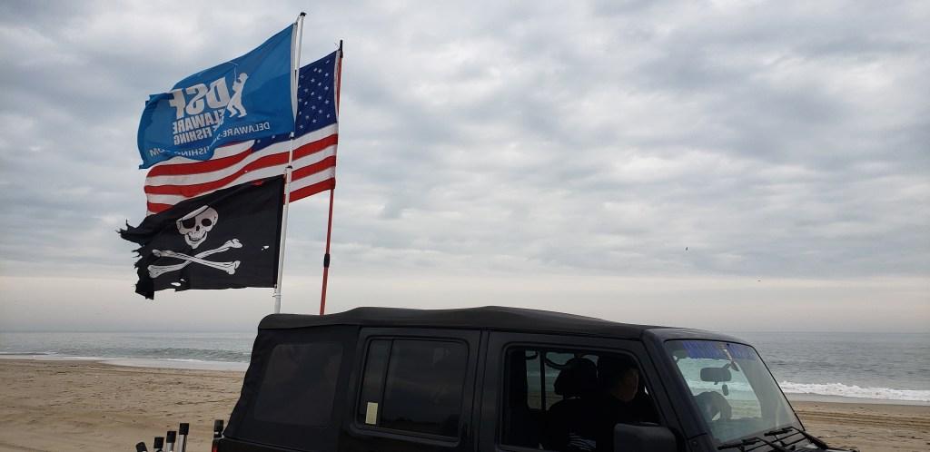 american flag, DSF flag, pirate flag, delaware surf fishing