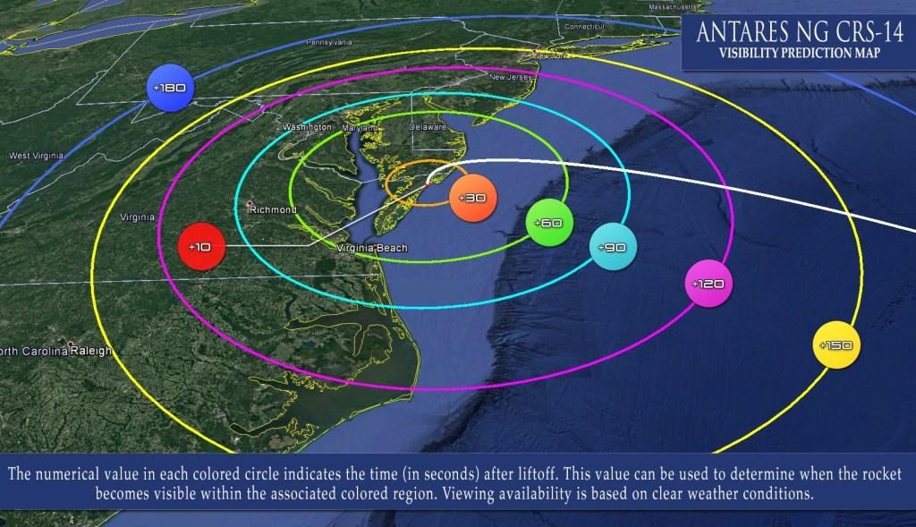 wallops flight facility trajectory map, antares, nasa, cygnus, northrop gruman, cygnas