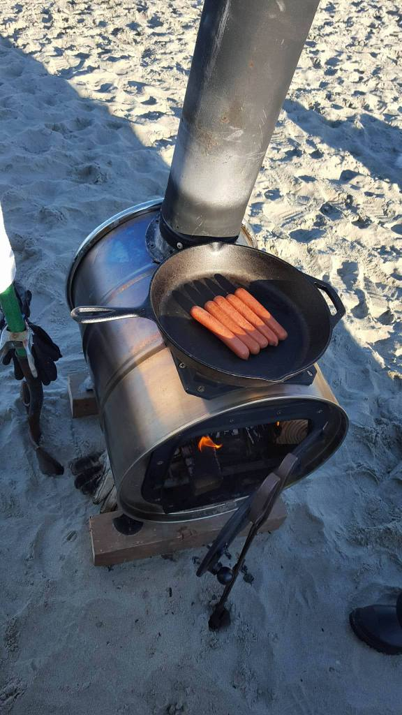 woodstove, delaware surf fishing, fire on beach,