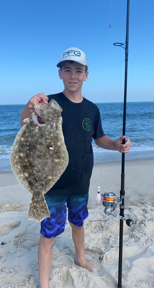 jigging for flounder, delaware surf fishing, gulp, bucktail, jig, bluefish, van staal