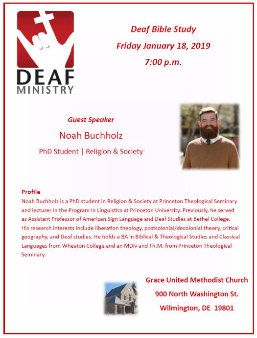Deaf Bible Study Friday January 18, 2019 7:00 p.m.