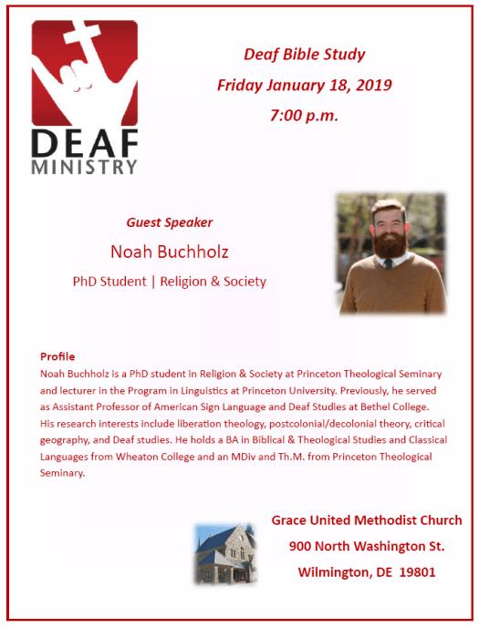 Deaf Bible Study Friday January 18, 2019 7:00 p.m.