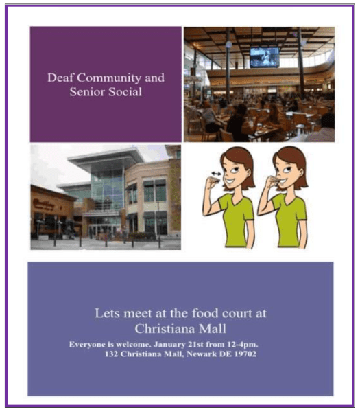 Deaf Social at Christiana Mall, Jan 21, 2019 at 12pm