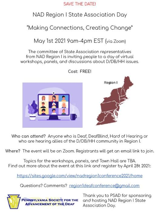 a free conference on a variety of topics hosted by NAD Region 1 states, more info go to https://sites.google.com/view/nadregion1conference2021/home