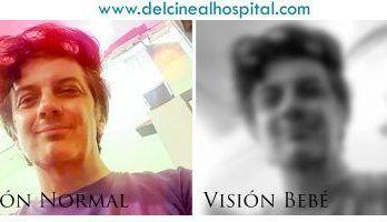 A la derecha, visión de un bebé durante los primeros meses de su vida.