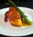Bacon-Wrapped Salmon with Pineapple Pabanero Sauce; Seasonal Stir Fry and Rice