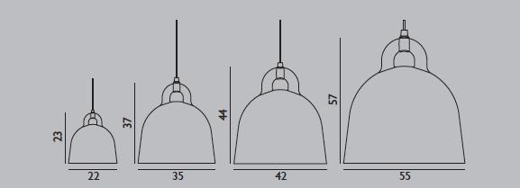 Medidas Lampara Bell de Normann Copenhagen con forma de campana para colgar