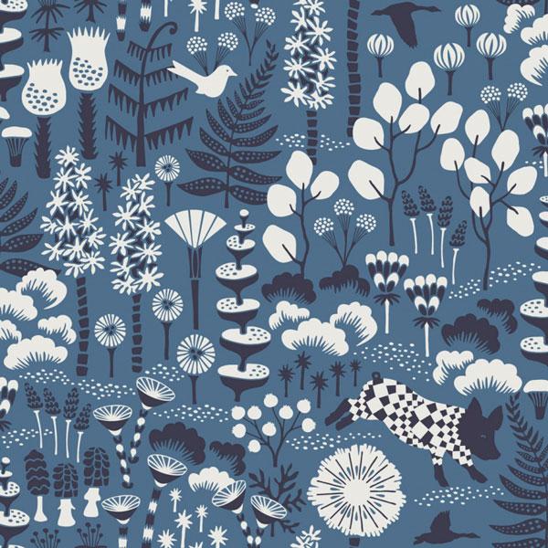 Papel pintado Hoppmosse en fondo azul de la colección Wonderland de Borastapeter