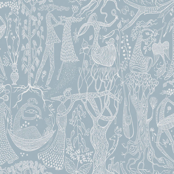 Papel pintado Poeme d´Amour en fondo azul de la colección Scandinavian Designers II de Borastapeter