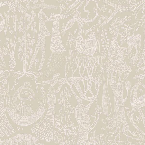 Papel pintado Poeme d´Amour en fondo beige de la colección Scandinavian Designers II de Borastapeter