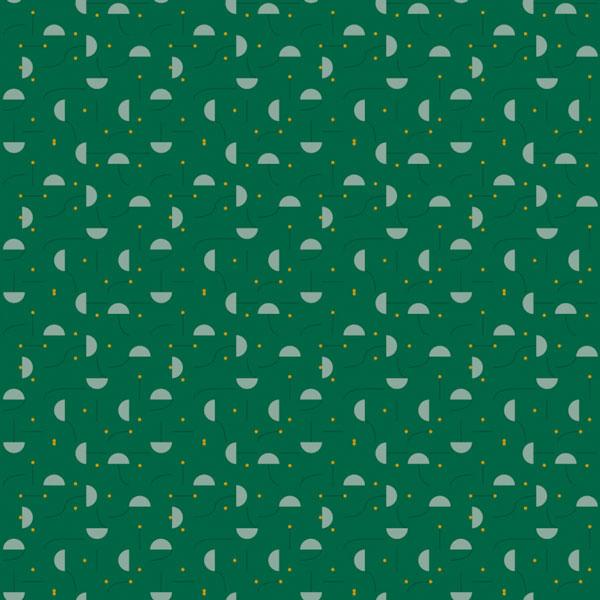 Papel pintado Primitive Micro en fondo verde diseñado por Jaime Hayon para England&Co