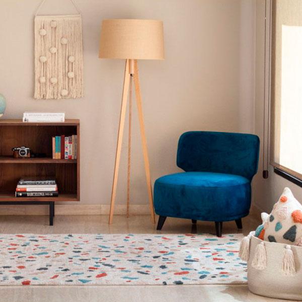 alfombra lavable de algodon con estampado de Terrazo de Lorena Canals
