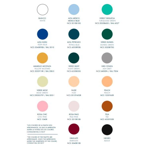 Paleta de color para lámparas cerámicas de Aromas del Campo