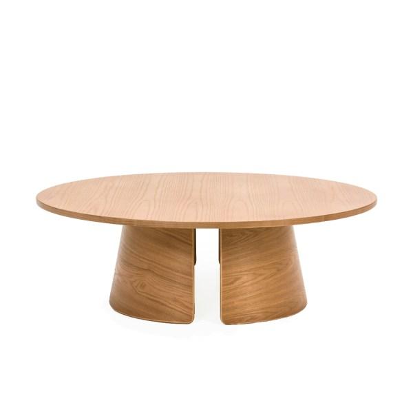 mesa de centro circular de roble