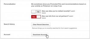 Deactivate Pinterest account