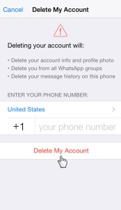 Whatsapp Delete My Account