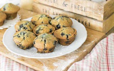 Havermoutmuffins met blauwe bessen