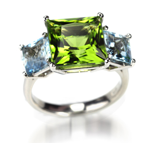 Aquamarine & Peridot Ring
