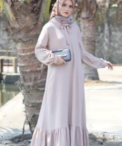 Baju Gamis Polos Simple - Belissimo Dress - Delia Hijab Khaki