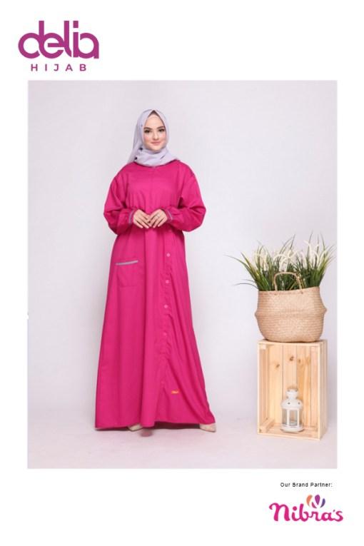 Baju Gamis Simpel - Gamis Nibras NBC 001 - Delia Hijab - Pink