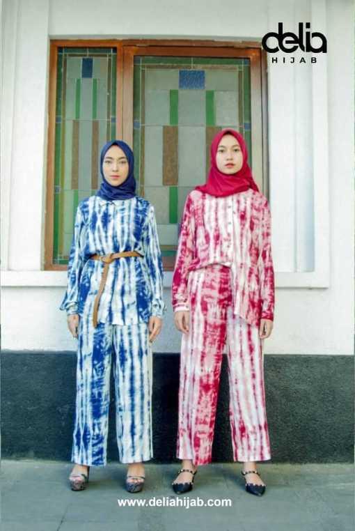 Setelan Tie Dye - Setelan Diana - Delia Hijab Red